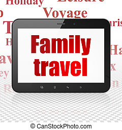 Vacation concept: Tablet Computer with Family Travel on...