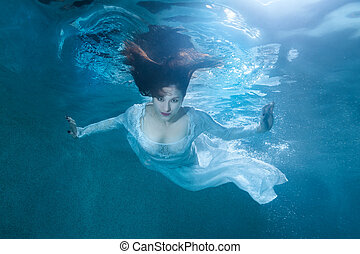 Fairy woman under water. - Fairy woman under the water, she...