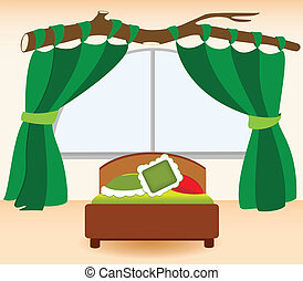 The green curtains - Illustration infant bedrooms in cartoon...