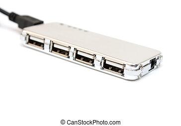 Silver USB hub. - Silver USB hub on a white background.