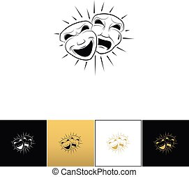 Theatrical comedy and tragedy masks vector icon
