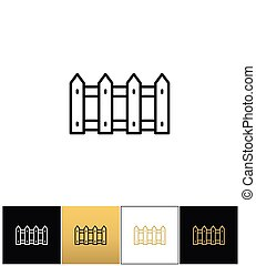 Fence or wood picket line vector icon. Fence or wood picket...