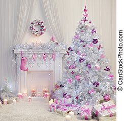 Christmas Tree Interior, Xmas Fireplace in Pink Decorated Indoors, Fantasy Room