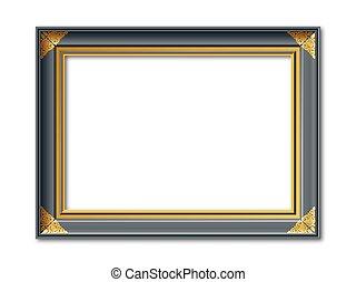 nostalgic black and golden vector frame - black and golden...