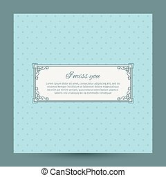 I miss you romantic card design with decorative frame and...
