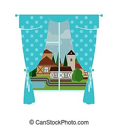 Blue window curtain and rainy city - Cute blue window...