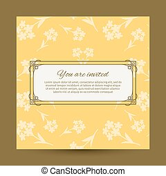 You are invited yellow card design with flowers. Vector...