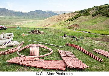 yurt - Kazakhstan in July 2014 construction of the yurt. a...