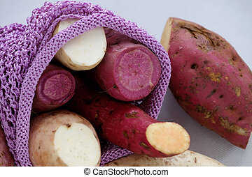 Diversity sweet potato on white background, healthy food...