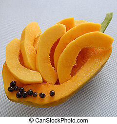 Papaya on white background, tropical fruit, Vietnamese...