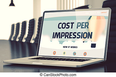 Cost Per Impression on Laptop in Conference Hall. 3D. - Cost...