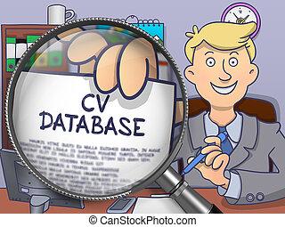 CV Database through Magnifying Glass. Doodle Design.