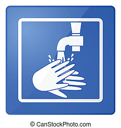 Wash hands sign - Glossy illustration of a sign for washing...