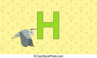 Heron. English ZOO Alphabet - letter H - Animated English...