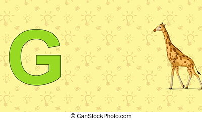 Giraffe. English ZOO Alphabet - letter G - Animated English...