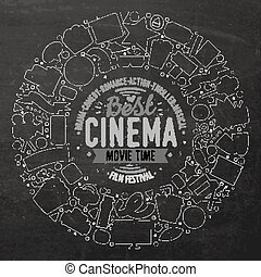 Set of Cinema cartoon doodle objects - Chalk board vector...