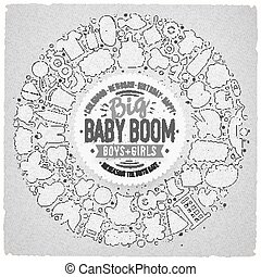 Set of Baby cartoon doodle objects round frame