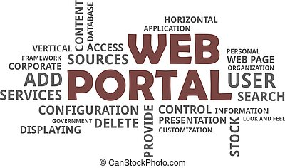 word cloud - web portal - A word cloud of web portal related...