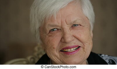 Cheerful Senior Woman - Portrait of laughing old woman