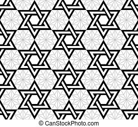 Jewish, Star of David black seamless pattern - Judaic,...