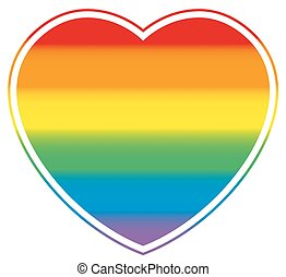 Gay Pride Heart Rainbow Colored Love - Gay love symbolized...