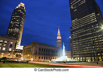 Colorful Evening in downtown Cleveland