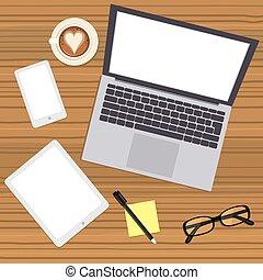 Digital Devices Mockup - Illustration of laptop computer...