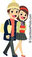 Couple Shopping Walking
