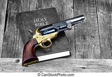 Gun and Bible.