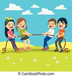 Kids Playing Tug - Illustration of Little Kids playing Tug...