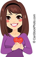 Woman Thank You - Woman holding red heart with thank you...