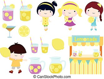 lemonade party clip art for summer and spring season