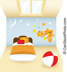 Bedroom with flower - Children\\\'s bedroom with the orange...