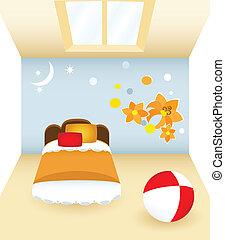 Bedroom with flower - Children\\\'s bedroom with the orange...