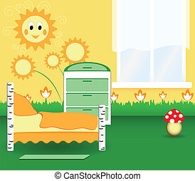Nursery bedroom with the orange flowers and the toy