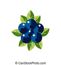 Vector Ripe blueberry icon. Flat Berries with green leaves isolated on white background.