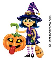 Girl in witch costume with pumpkin and broom