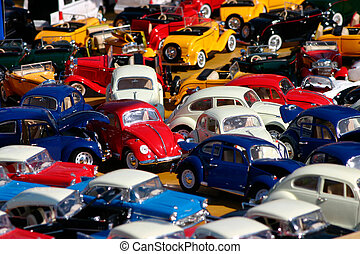 Miniature cars jam - Colorful traffic jam of collectible...