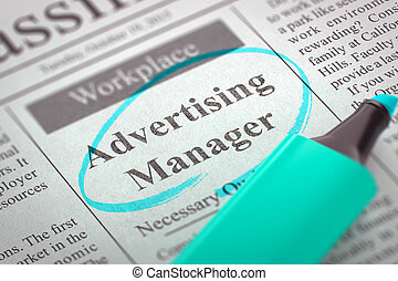 We are Hiring Advertising Manager. 3D.