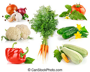 set fresh vegetables with green leaves isolated on white...