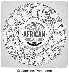 Set of Africa cartoon doodle objects round frame - Contour...