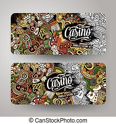 Cartoon vector doodles casino banners