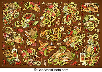 Doodle cartoon set of Mexican Food objects - Colorful vector...