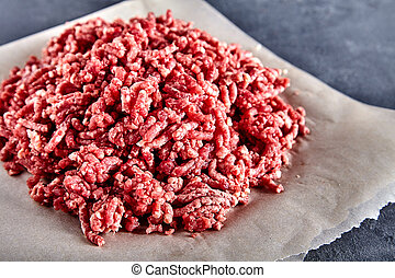 Raw ground beef on a craft paper - Pinky raw ground beef on...