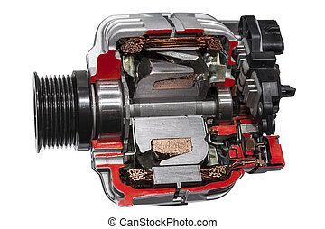 Alternator cross section - Automotive alternator cross...