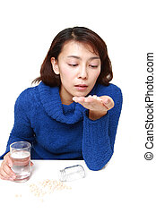Asian woman suffers from melancholy - concept shot of Asian...