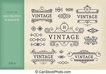 Calligraphic design elements. Vector set of vintage page...