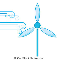 Wind power - Concept illustration showing bursts of wind...