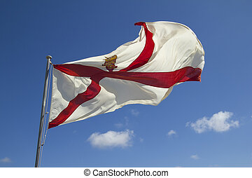 Jersey flag - Flag of the Channel Island of Jersey...