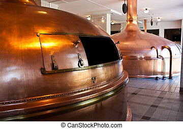Make beer in Holland - Interior of a traditional brewery in...